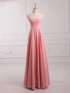 Strapless Sleeveless Quinceanera Court of Honor Dress Floor Length Ruching Watermelon Red Chiffon