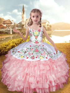 Super Straps Sleeveless Pageant Gowns For Girls Floor Length Embroidery and Ruffled Layers Baby Pink Organza and Taffeta