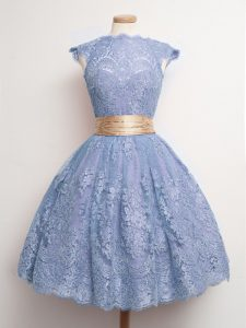Blue Lace Lace Up High-neck Cap Sleeves Knee Length Dama Dress for Quinceanera Belt