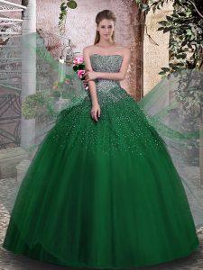 Fantastic Dark Green Ball Gowns Beading Sweet 16 Dress Lace Up Tulle Sleeveless Floor Length