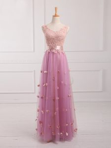 Customized Lilac Lace Up Quinceanera Court of Honor Dress Lace and Appliques Sleeveless Floor Length
