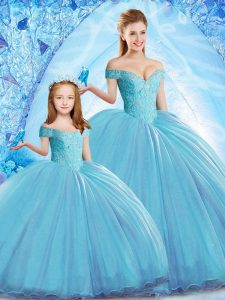 Dramatic Baby Blue Sleeveless Beading Lace Up Quinceanera Dress