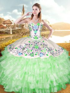 Ball Gowns Sweetheart Sleeveless Organza and Taffeta Floor Length Lace Up Embroidery and Ruffled Layers Sweet 16 Dress