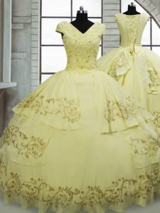 Satin and Chiffon Cap Sleeves Sweet 16 Dresses Brush Train and Beading and Embroidery