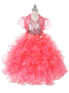 Coral Red Sleeveless Ruffles and Sequins and Bowknot Floor Length Child Pageant Dress