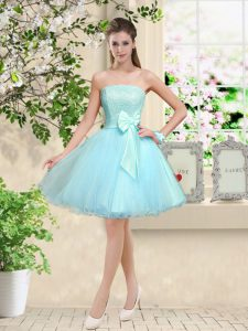 Sleeveless Lace and Belt Lace Up Quinceanera Dama Dress