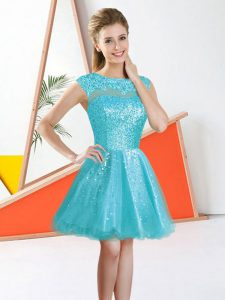 Sleeveless Knee Length Beading and Lace Backless Court Dresses for Sweet 16 with Aqua Blue