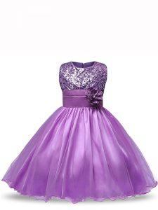 Purple Organza Zipper Little Girl Pageant Dress Sleeveless Knee Length Sequins and Hand Made Flower