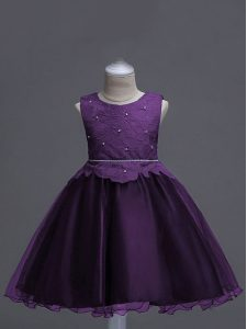 Lace Little Girls Pageant Gowns Dark Purple Zipper Sleeveless Knee Length
