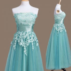 Artistic Light Blue Empire Strapless Sleeveless Tulle Tea Length Lace Up Appliques Dama Dress for Quinceanera