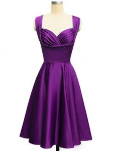 Eggplant Purple Taffeta Lace Up Straps Sleeveless Knee Length Quinceanera Court of Honor Dress Ruching