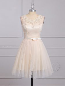 Mini Length Champagne Dama Dress for Quinceanera Lace Sleeveless Appliques and Belt
