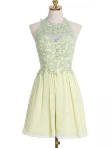 Deluxe Sleeveless Knee Length Appliques Lace Up Damas Dress with Light Yellow
