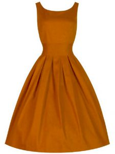 A-line Court Dresses for Sweet 16 Orange Scoop Taffeta Sleeveless Knee Length Lace Up