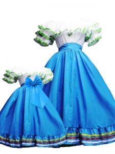 Baby Blue Ball Gowns Ruffled Layers Quinceanera Gown Lace Up Taffeta Sleeveless Floor Length