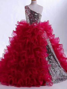 Floor Length Ball Gowns Sleeveless Wine Red Little Girls Pageant Dress Zipper