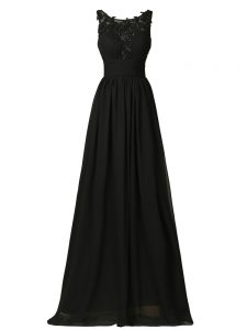 Exceptional Floor Length Black Dama Dress Chiffon Sleeveless Appliques