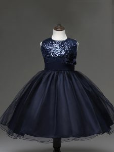 Nice Navy Blue Ball Gowns Sequins and Hand Made Flower Kids Formal Wear Zipper Tulle Sleeveless Knee Length
