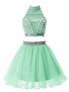 Apple Green A-line High-neck Sleeveless Organza Knee Length Zipper Beading Quinceanera Dama Dress