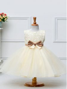 Hot Selling Champagne Scoop Zipper Lace and Bowknot Kids Formal Wear Sleeveless