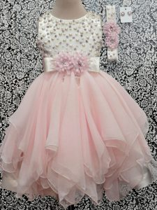 Elegant Baby Pink Scoop Backless Beading and Hand Made Flower Girls Pageant Dresses Sleeveless