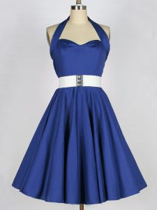 Dramatic Knee Length A-line Sleeveless Blue Dama Dress for Quinceanera Lace Up