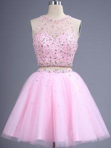 Pink Sleeveless Knee Length Beading and Lace Zipper Quinceanera Dama Dress