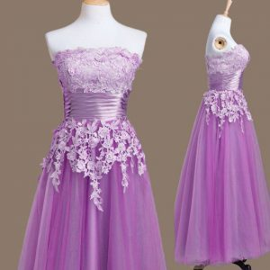 Dramatic Purple Tulle Lace Up Strapless Sleeveless Tea Length Quinceanera Dama Dress Appliques