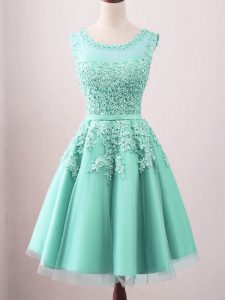 Turquoise Sleeveless Knee Length Lace Lace Up Court Dresses for Sweet 16