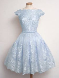 Light Blue Cap Sleeves Lace Knee Length Dama Dress for Quinceanera