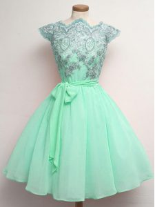 Deluxe Apple Green A-line Scalloped Cap Sleeves Chiffon Knee Length Lace Up Lace and Belt Quinceanera Court Dresses