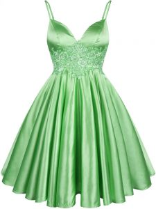 Sleeveless Knee Length Lace Lace Up Quinceanera Court of Honor Dress with Green