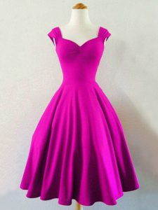 Fuchsia Sleeveless Knee Length Ruching Lace Up Quinceanera Court of Honor Dress