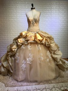 Extravagant Gold Sleeveless Beading and Appliques and Pick Ups Lace Up Quinceanera Dress