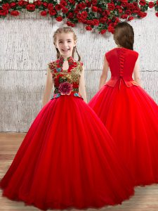 Red Sleeveless Appliques Floor Length Little Girl Pageant Gowns