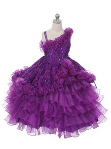 Purple Lace Up Asymmetric Lace and Ruffles and Ruffled Layers Little Girl Pageant Dress Organza Sleeveless