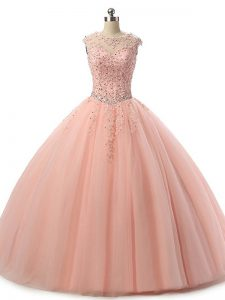 Fantastic Peach Sleeveless Beading and Lace Floor Length Quinceanera Gowns