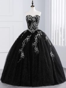 Captivating Floor Length Ball Gowns Sleeveless Black Quinceanera Gowns Lace Up