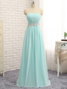 Clearance Sleeveless Chiffon Floor Length Zipper Court Dresses for Sweet 16 in Apple Green with Appliques and Ruching