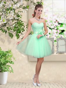 Eye-catching Sleeveless Lace Up Knee Length Lace and Belt Damas Dress
