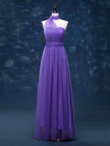 Tulle Sleeveless Floor Length Vestidos de Damas and Ruching