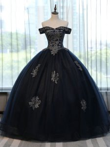 Great Floor Length Ball Gowns Sleeveless Navy Blue 15th Birthday Dress Lace Up