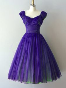 Delicate Purple Chiffon Lace Up V-neck Cap Sleeves Knee Length Court Dresses for Sweet 16 Ruching