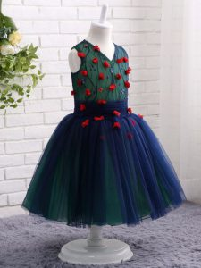 Eye-catching Navy Blue Sleeveless Knee Length Lace and Appliques Zipper Kids Formal Wear