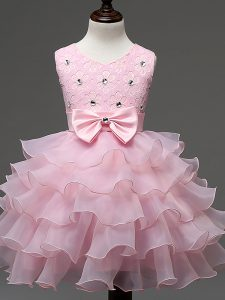 Amazing Baby Pink Ball Gowns Organza Scoop Sleeveless Lace and Ruffled Layers and Bowknot Knee Length Zipper Little Girls Pageant Dress