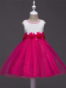 Cheap Ball Gowns Pageant Gowns For Girls Hot Pink Scoop Tulle Sleeveless Knee Length Zipper