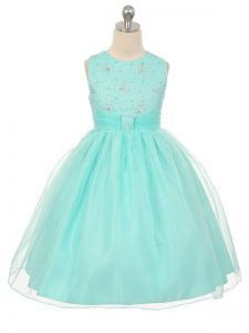 Apple Green Tulle Lace Up Scoop Sleeveless Knee Length Kids Formal Wear Beading