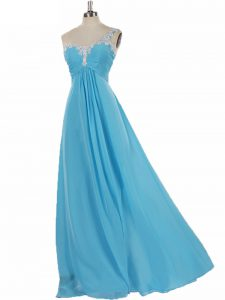 Glorious Sleeveless Zipper Floor Length Appliques Dama Dress for Quinceanera