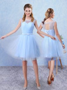 Sweet Ruching and Belt Damas Dress Blue Lace Up Sleeveless Knee Length