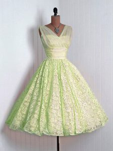 Mini Length Yellow Green Court Dresses for Sweet 16 Lace Sleeveless Lace